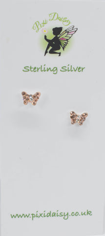 Butterfly Rose Gold Ear Studs - Pixi daisy