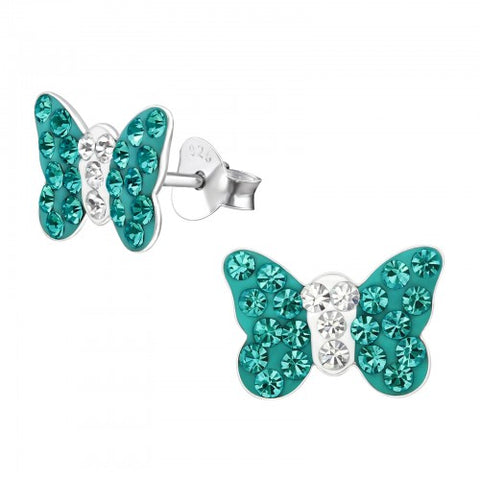 Butterfly - Large Blue Zircon Sterling Silver Stud Earrings - pixi-daisy