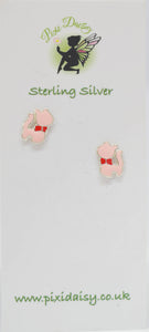 Pink Cat Ear Studs -Pixi Daisy