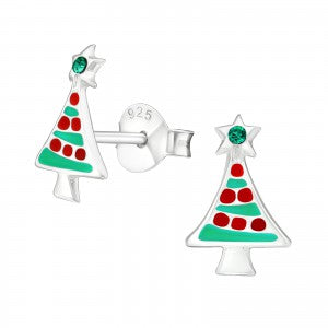 Christmas Tree Sterling Silver Ear Studs - pixi-daisy