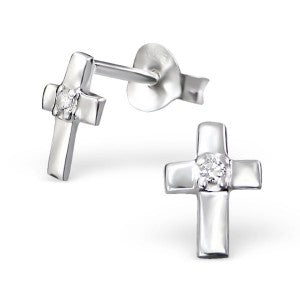 Cross with CZ crystal Sterling Silver stud earrings - pixi-daisy