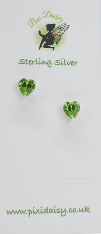 Green Crystal Heart Ear Stud - Pixi Daisy