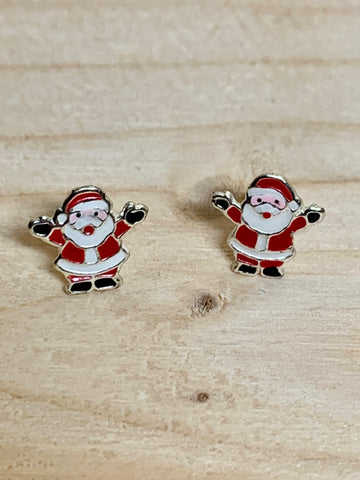 Happy Santa Sterling Silver Ear Studs - pixi-daisy