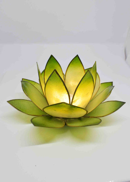 Lime Green Lotus Flower Tea Light Candle Holder - pixi-daisy