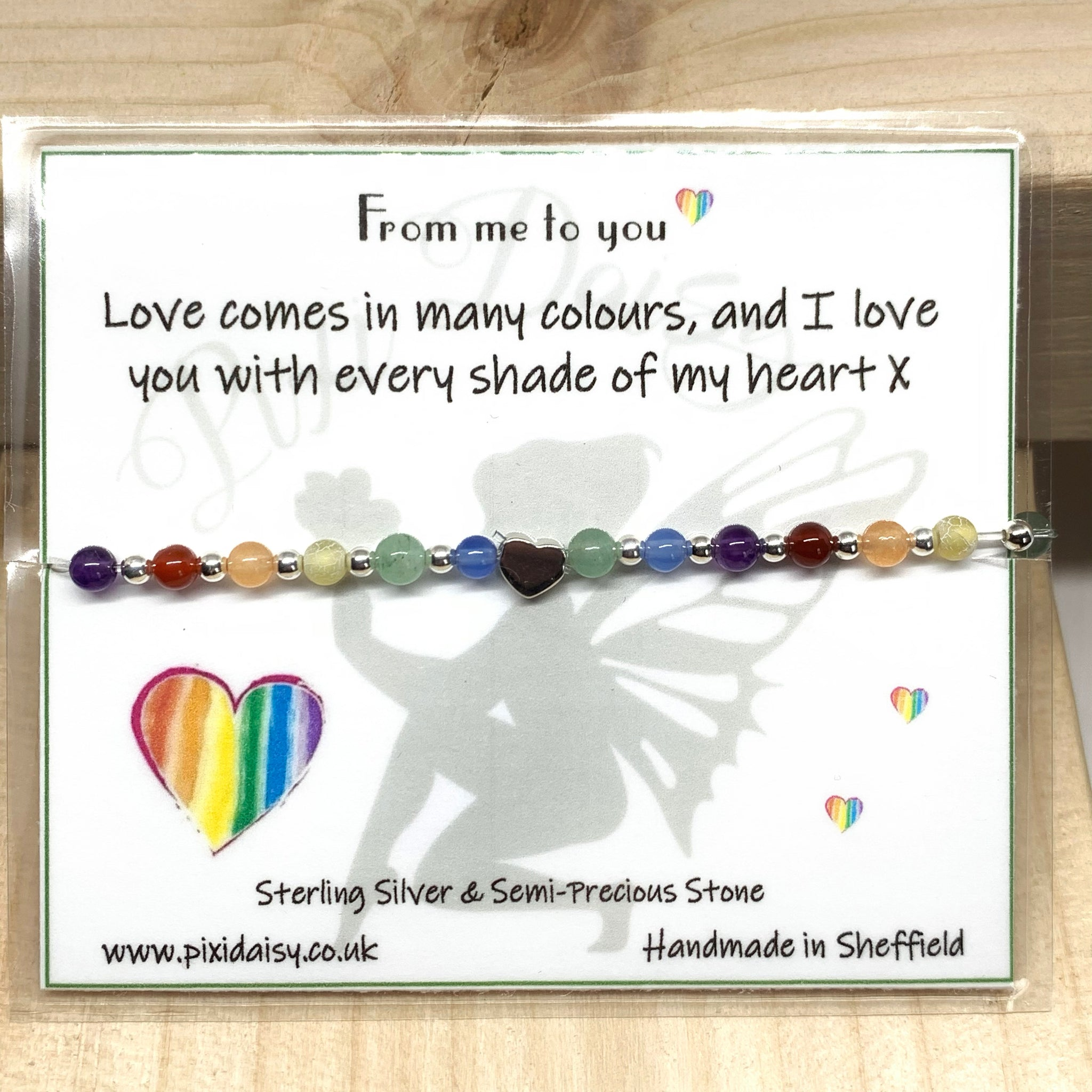 Love Comes in Many Colours Sentiment Bracelet from Pixi Daisy