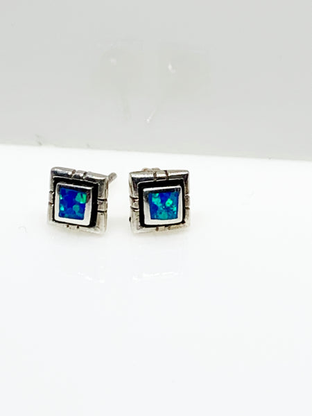 Square blue opal ear studs from Pixi Daisy