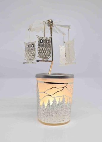 Owl Tea Light Candle Holder Carousel