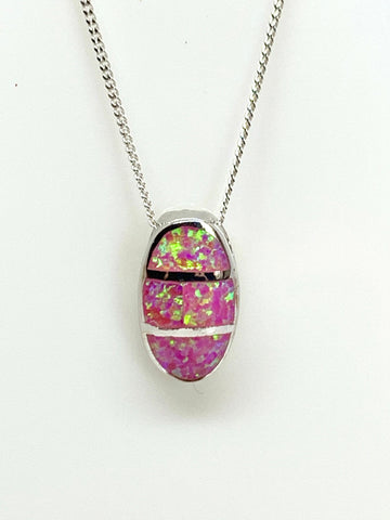 Pink Oval Opal Necklace from Pixi Daisy