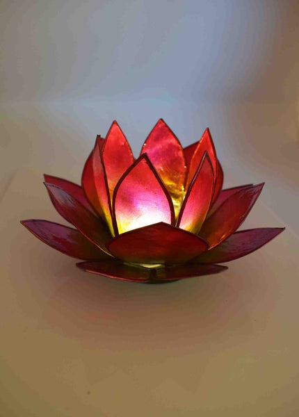 Red Green Tea Light Lotus Flower - Pixi Daisy