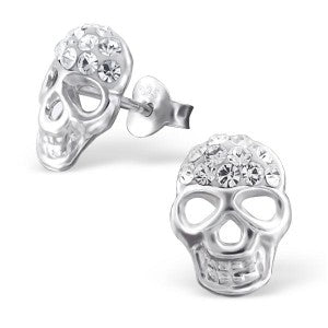 Crystal Skull Sterling Silver Stud Earrings - pixi-daisy