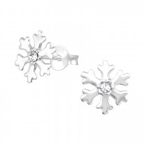 Snowflake Sterling Silver Ear Studs - pixi-daisy