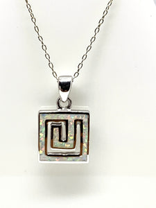Square White Opal Pendant from Pixi Daisy