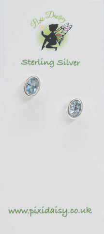 Light Blue Tourmaline Ear Studs - Pixi Daisy