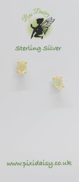 Clear White Opal Ear Studs - Pixi Daisy
