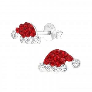 Sparkly Santa Hat Christmas Earrings with Crystal Gemstones - pixi-daisy