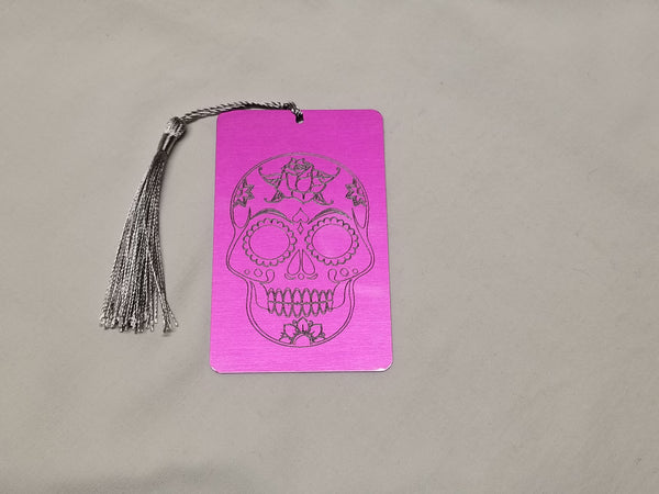 Sugar skull bookmark (or car dangle) in fuchsia