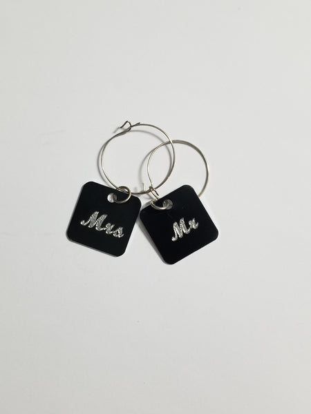 Mr. & Mrs. Wine Glass Charms