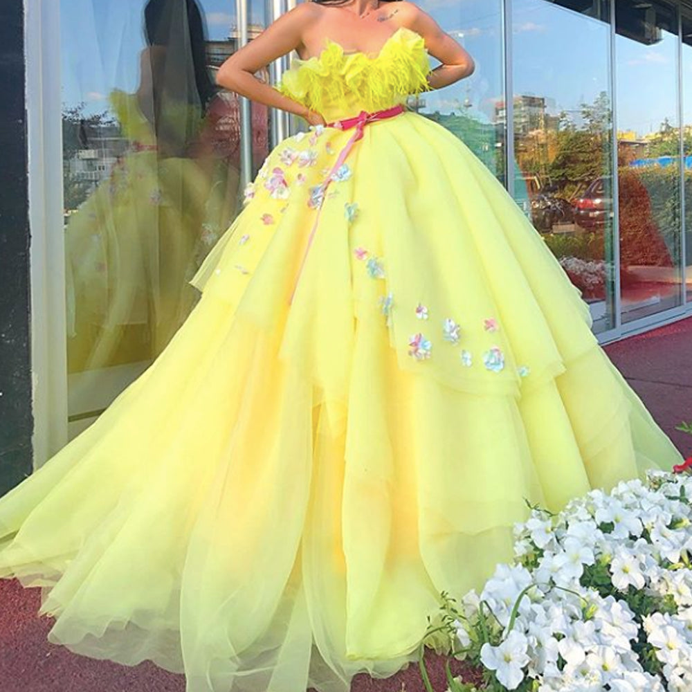 yellow prom dresses 2020 sweetheart neckline