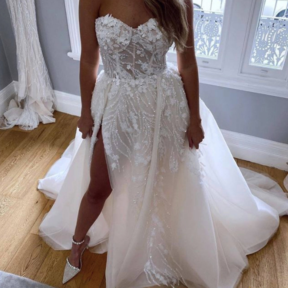 Ball Gown Wedding Dresses 2021 Sweetheart Neckline Lace Appliques Flow Jzbridal