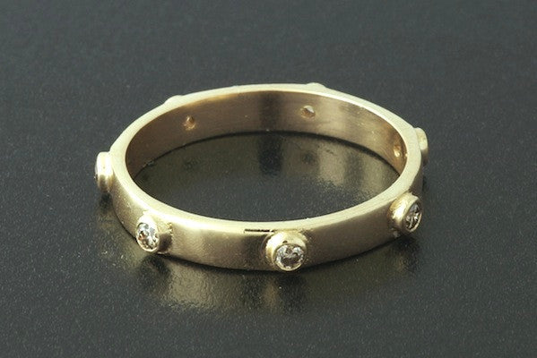 Stud Ring with Champagne Diamonds