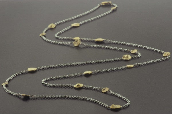 Pebble Necklace Oxidized Silver and Gold