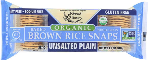 Edward & Sons Organic Baked Brown Rice Snaps Unsalted Plain, 3.5 oz