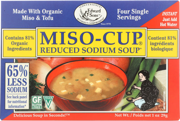 Edward & Sons Miso Cup Mix Reduced Salt Organic 3-4 P, 1 oz