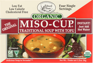 Edward & Sons Organic Gluten Free Miso-Cup Natural / Instant 4 Pack, 1.3 oz