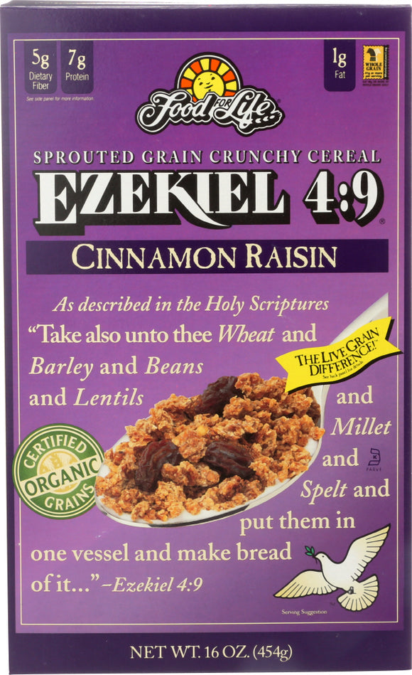Food For Life Ezekiel 4:9 Sprouted Grain Cereal Cinnamon Raisin, 16 oz