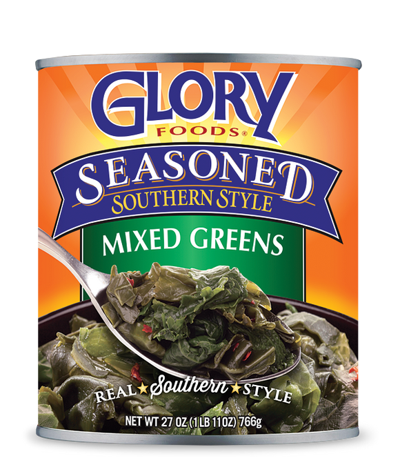 Glory Foods Seasoned Mixed Greens, 27 oz