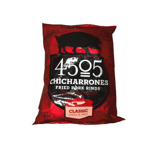 4505 Meats 4505 Classic Chili & Salt Pork Rinds, Certified Keto, Humanely Raised, Family Size Bag, 7oz