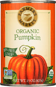 Farmers Market Foods Organic Canned Pumpkin, 15 oz