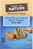 Back To Nature Gluten-Free Sea Salt & Cracked Black Pepper Rice Thin Crackers, 4 oz