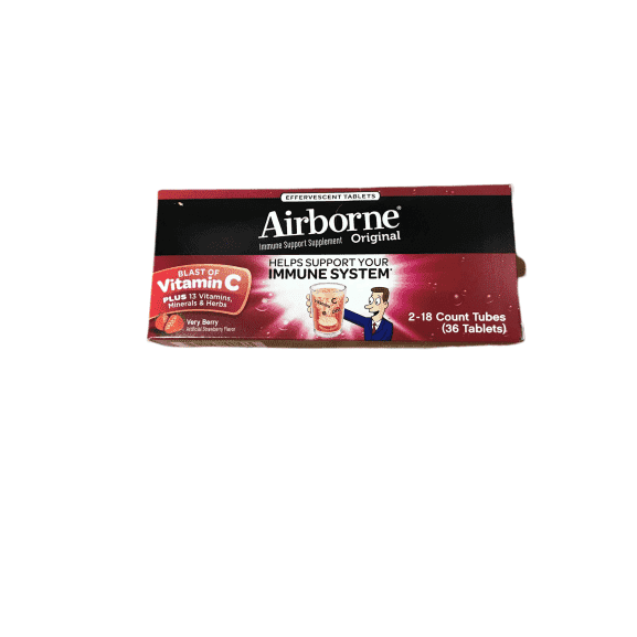 Airborne Very Berry Effervescent Tablets, Very Berry, 36 Count - ShelHealth.Com