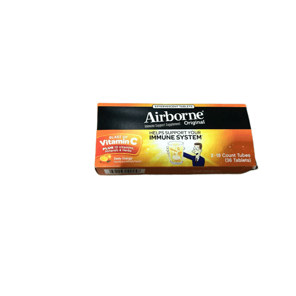 Airborne Airborne Very Berry Effervescent Tablets, Zesty Orange, 36 Count