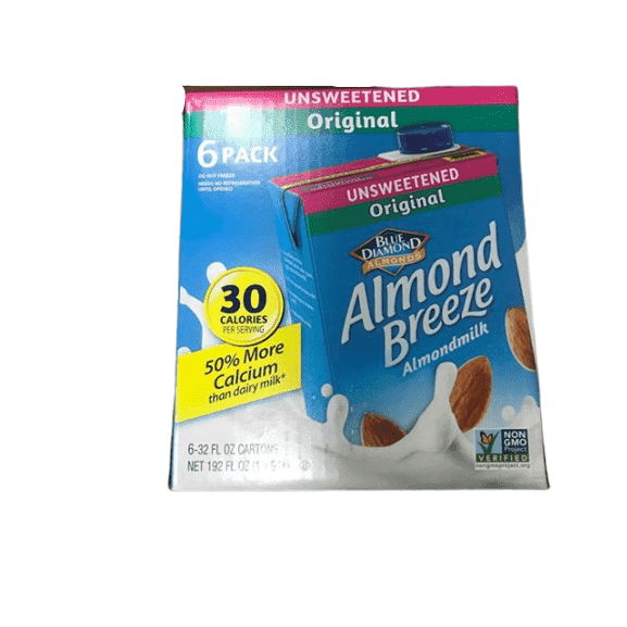 Almond Breeze Dairy Free Almond Milk, Unsweetened Original, 32 Ounce (Pack of 6) - ShelHealth.Com