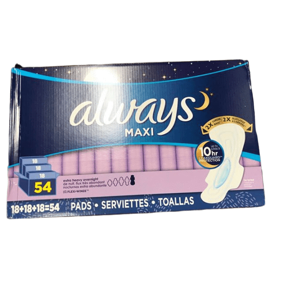 Always Always Extra-Heavy Overnight Maxi Pads with Flexi-Wings, 54 ct.