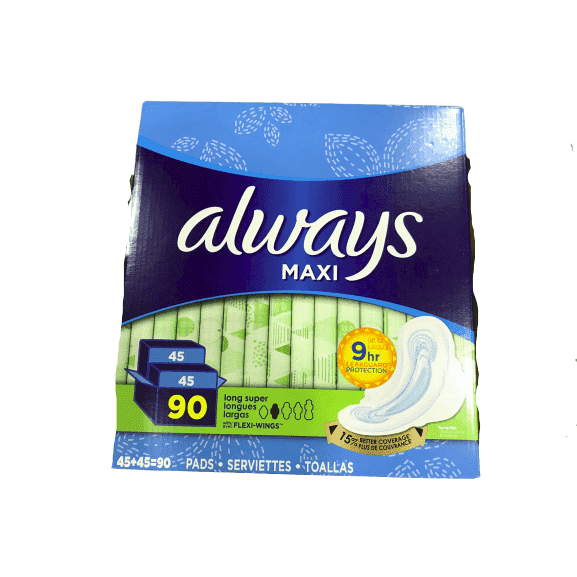 Always Maxi Long Super Pads With Wings, 90 Count - ShelHealth.Com
