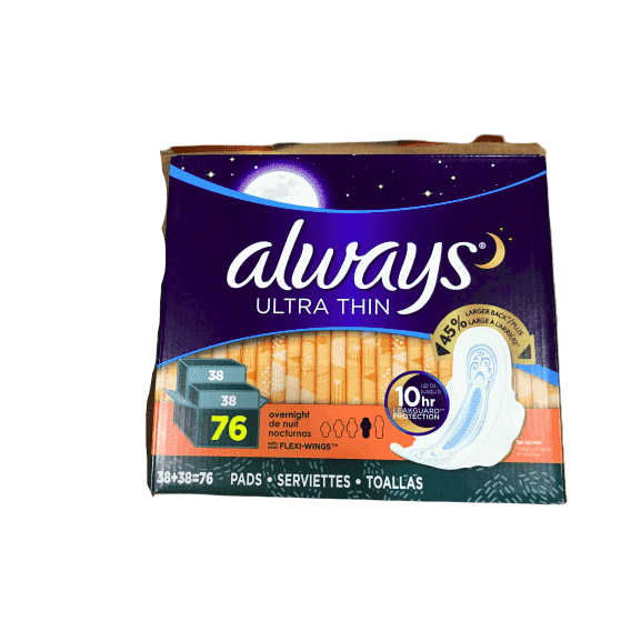 Always Always Ultra Thin Overnight Pads With Wings, Unscented, 76 Count