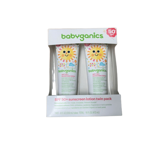 BabyGanics Babyganics Baby Sunscreen Lotion, SPF 50, 8 oz Tube (Pack of 2)