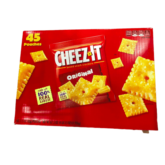 Cheez-It Baked Snack Cheese Crackers, Original, Single Serve, 1.5 oz Bags (45 Count) - ShelHealth.Com