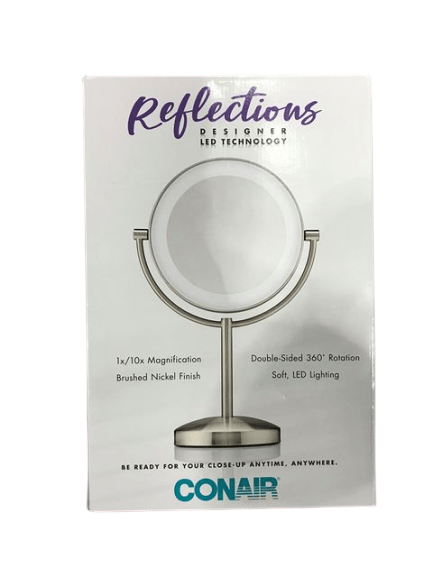 Conair Reflections Double Sided LED Lighted Vanity Makeup Mirror, 1x/10x magnification - ShelHealth.Com
