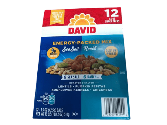 David Seeds DAVID Seeds Energy-Packed Mix for Snacking (Sea Salt & Ranch), 1,5 Oz. (Pack Of 12)
