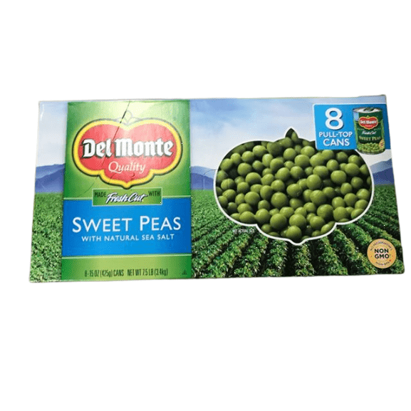 Del Monte Canned Fresh Cut Sweet Peas, 15-Ounce, 8-Pack - ShelHealth.Com