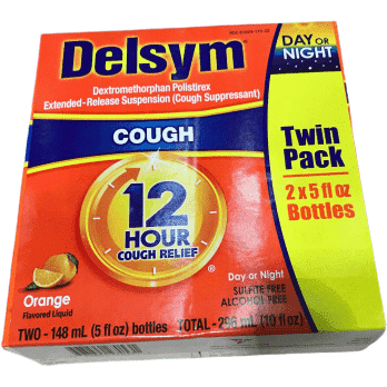 Delsym Cough Suppressant Alcohol Free Orange Flavored Liquid- 2x 5oz Bottles - ShelHealth.Com