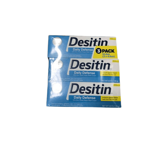 Desitin Desitin Daily Defense Baby Diaper Rash Cream, Relieve & Prevent Diaper Rash, 4.8 Ounce (Pack of 3)