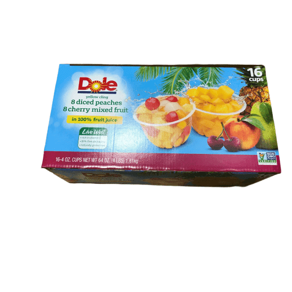 Dole Dole Fruit Cups Variety Pack, 16 cups, Cherry Mixed Fruit & Peaches