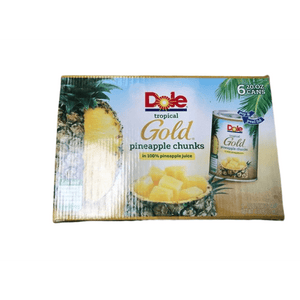 Dole Dole Tropical Gold Pineapple Chunks, In juice, 20 Oz. (Pack of 6)