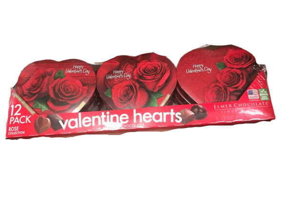 Elmer Elmer Chocolate in Heart Shaped Boxes For Valentine's Day, 2 oz (Pack of 12)