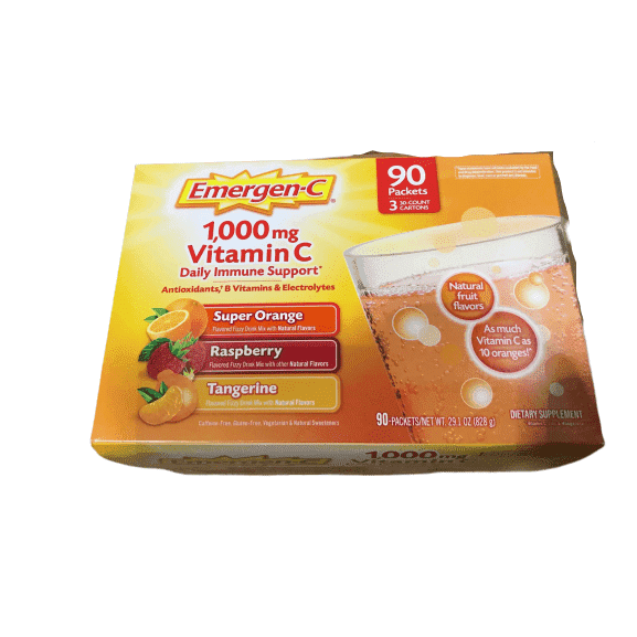 Emergen-C Emergen-C 1,000 mg Vitamin C Dietary Supplement Drink Mix, Super Orange/Raspberry/Tagerine, 90 Packets
